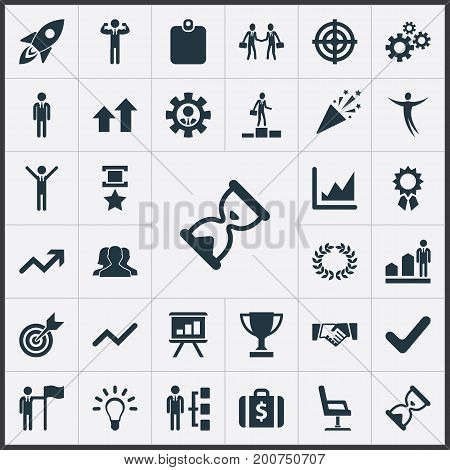Elements Success, Worker, Leader And Other Synonyms Presentation, Chair And Office.  Vector Illustration Set Of Simple Champion Icons.