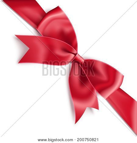 Realistic satin red bow knot on ribbon. Vector illustration icon isolated on white.