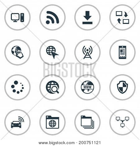 Elements Antenna, Share, Circle Loader And Other Synonyms Click, Progress And Down.  Vector Illustration Set Of Simple Internet Icons.