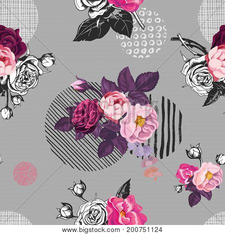 Elegant seamless pattern with semi-colored wild rose flowers against gray background with hand painted circular elements of different texture. Vector illustration for fabric print, wrapping paper