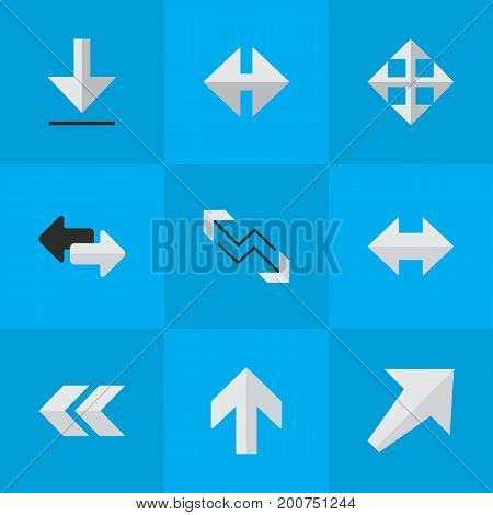 Elements Back, Import, Arrow And Other Synonyms Rearward, Southwest And Backward.  Vector Illustration Set Of Simple Indicator Icons.