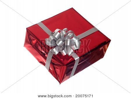 gift with grey bow