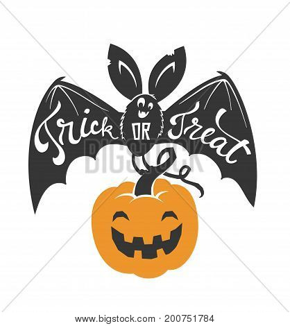 Cartoon flying bat with spread wings and Trick or Treat text written on it holding Halloween pumpkin lantern isolated on white background. Vector illustration for greeting card, party invitation