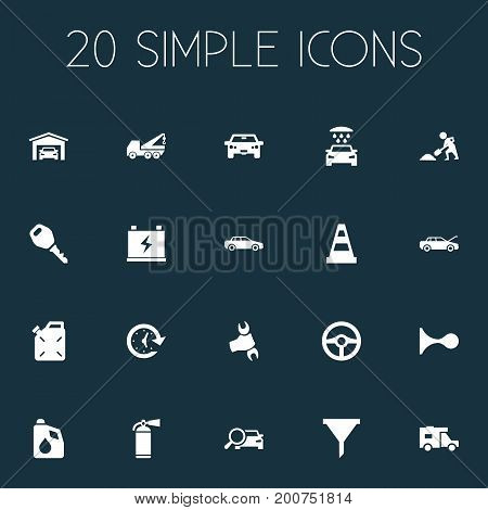 Elements Wrench, Automobile, Builder And Other Synonyms Fuel, Builder And Fixing.  Vector Illustration Set Of Simple Car Icons.