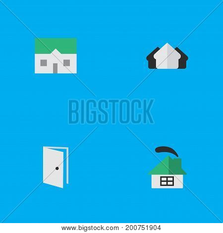 Elements Property, House, Entry And Other Synonyms Real, Estate And Home.  Vector Illustration Set Of Simple Real Icons.