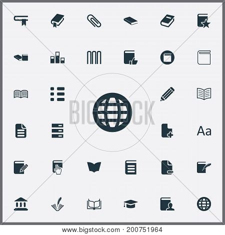 Elements Stack, Library, Page Removing And Other Synonyms Open, Alphabet And Cursor.  Vector Illustration Set Of Simple Books Icons.