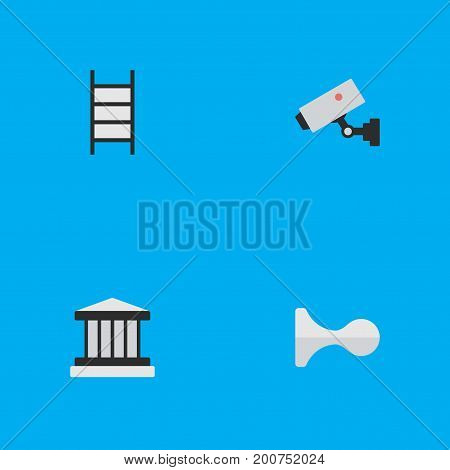 Elements Stairs,  Supervision And Other Synonyms Ladder, Supervision And Climbing.  Vector Illustration Set Of Simple Crime Icons.