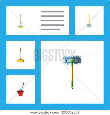 Flat Icon Mop Set Of Equipment, Bucket, Besom And Other Vector Objects