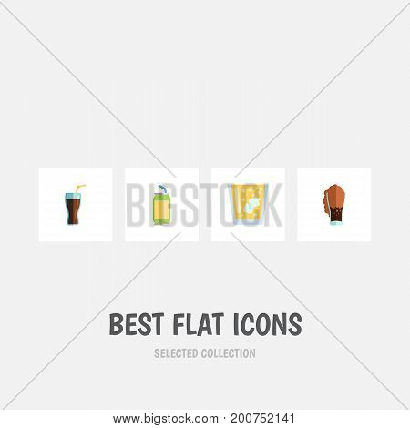 Flat Icon Soda Set Of Soda, Fizzy Drink, Lemonade And Other Vector Objects