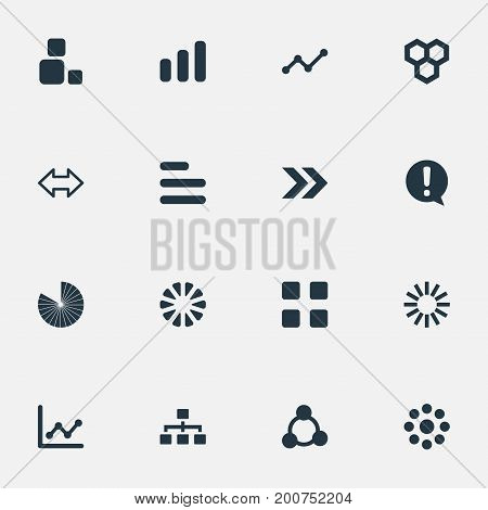 Elements Reverse Arrows, Unit, Multiple And Other Synonyms Relation, Strategy And Segment.  Vector Illustration Set Of Simple Graph Icons.