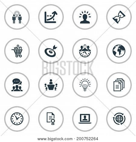 Elements Think, Group, Globe And Other Synonyms Think, Growth And Manager.  Vector Illustration Set Of Simple Strategy Icons.