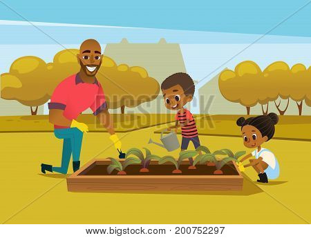 Cheerful African American father and two kids dressed in rubber boots cultivate vegetables growing in bed against trees on background. Concept of family activities in garden. Vector illustration