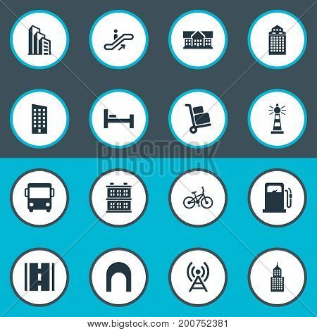 Elements Staircase, School, Petrol-Station And Other Synonyms Megapolis, Autobus And Skyscraper.  Vector Illustration Set Of Simple Infrastructure Icons.