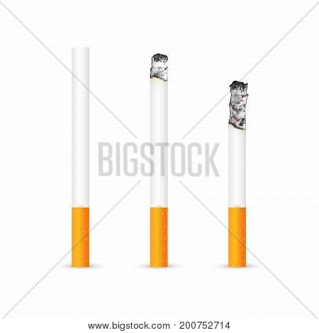 Cigarette With And Without Ash Isolated On White Background. Realistic Smoldering Cigarette In Diffe