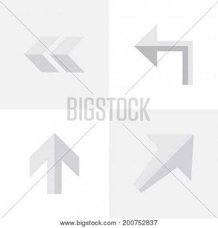 Elements Orientation, Upwards, Back And Other Synonyms Up, Backward And Rearward.  Vector Illustration Set Of Simple Pointer Icons.