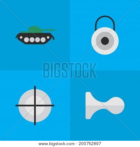 Elements Sniper, Lock, Military And Other Synonyms Close, Target And Goal.  Vector Illustration Set Of Simple Offense Icons.