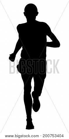 male runner leader of marathon running black silhouette