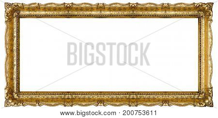 Very Big Old Gold picture frame, isolated on white - extra large file and quality - 72mpx