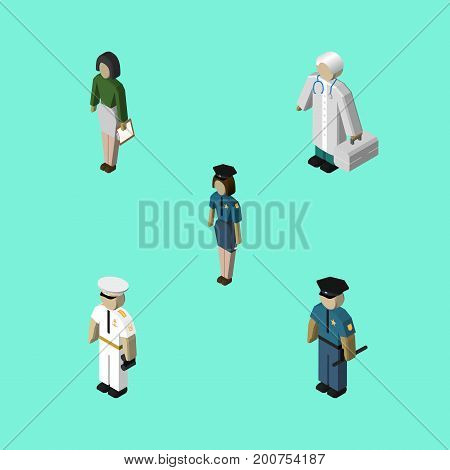 Isometric Human Set Of Officer, Seaman, Medic And Other Vector Objects