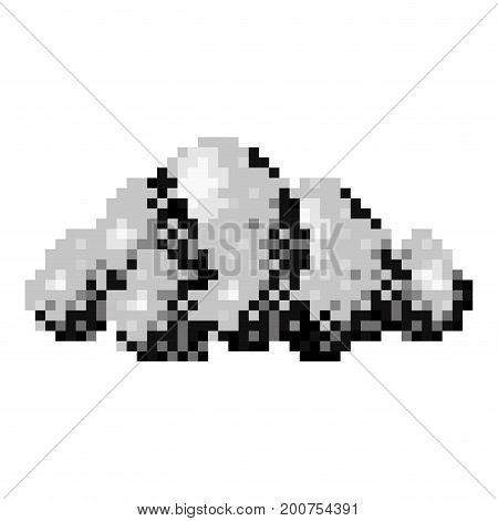 monochrome pixelated cumulus of clouds vector illustration