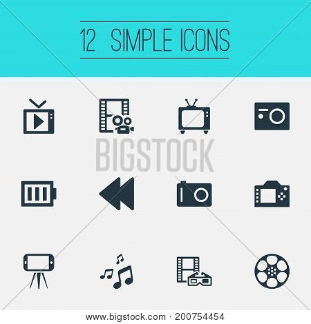 Elements Movie, Multimedia, Photo Apparatus And Other Synonyms Television, Multimedia And 3D.  Vector Illustration Set Of Simple Media Icons.