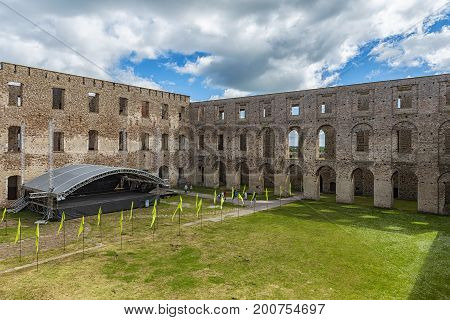 Borgholm Castle on Oland Sweden is today only a ruin of the fortress that was first built in the second half of the 13th century and rebuilt many times in later centuries