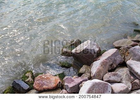 Picture of Lake Balaton's waterside and rocks in Hungary