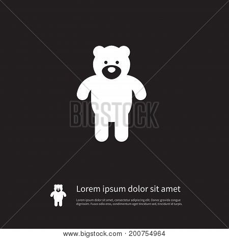 Plush Vector Element Can Be Used For Plush, Cuddly, Bear Design Concept.  Isolated Bear Icon.