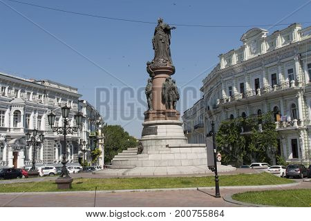 The monument to Catherine 2 in Odessa photo Ukraine Europe.