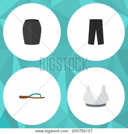 Flat Icon Clothes Set Of Brasserie, Beach Sandal, Pants Vector Objects