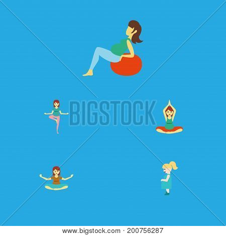 Flat Icon Pregnant Set Of Pregnant Woman, Yoga, Meditation And Other Vector Objects