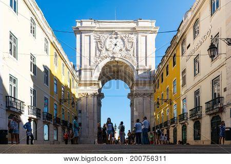 Arco Da Rua Augusta In Lisbon Portugal On Snny Summer Vacation In August 2017