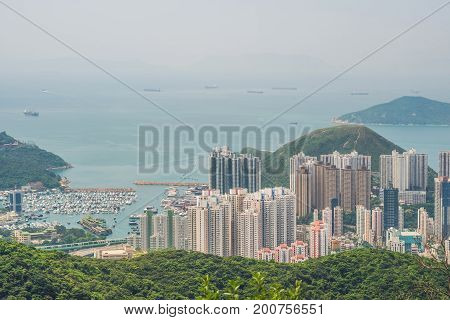 Toned Image Of Modern Office Buildings In Central Hong Kong