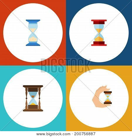 Flat Icon Sandglass Set Of Sandglass, Loading, Waiting Vector Objects