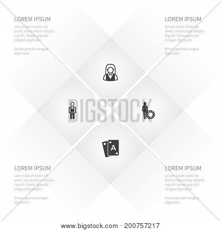 Icon Casino Set Of Gamble, Dealer, Chipper And Other Vector Objects