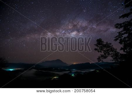 Amazing beautiful of night sky Milky Way Galaxy , Beautiful Milky Way galaxy at Borneo, Long exposure photograph, with grain.Image contain certain grain or noise and soft focus.