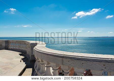 Cathedral Balcony Overlooking Ocean Panteao Nacional Blue Skies Beautiful View