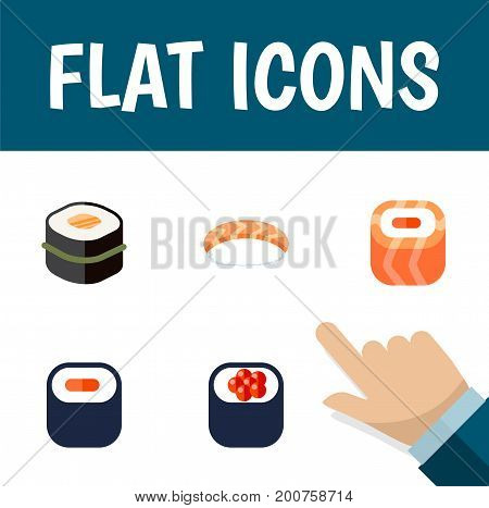 Flat Icon Maki Set Of Oriental, Maki, Seafood And Other Vector Objects