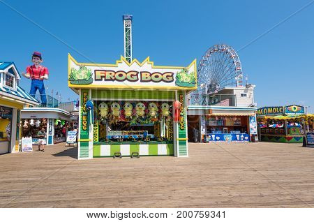 Seaside Heights NJ USA -- August 21 2017 -- Games of chance and rides along the Seaside Heights Boardwalk at the Jersey Shore. Editorial Use Only.