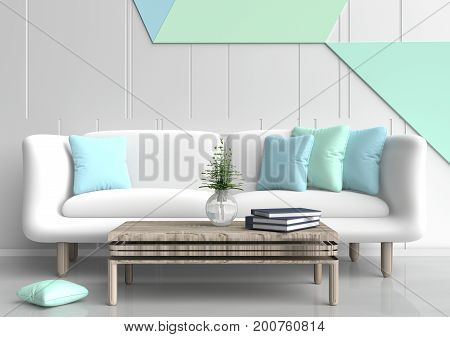 Pastel  room are decorated with white sofa, tree in glass vase,light green and light blue pillows, Blue book, pastel cement wall it is grid pattern and the white cement floor. 3d rendering