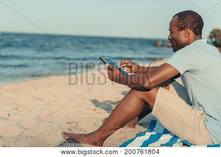 African American Man With Digital Tablet