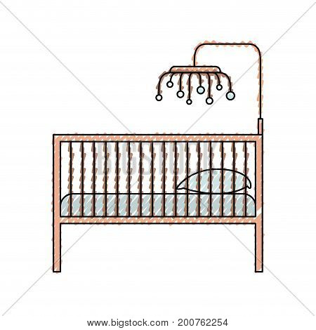 colored crayon silhouette of baby crib with wood railing vector illustration