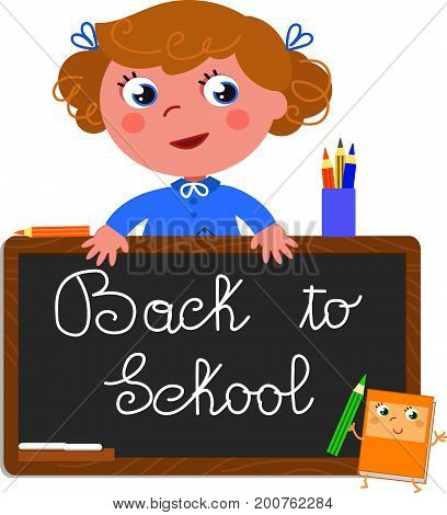 Cute girl with black chalkboard with the text back to school. Cartoon vector illustration