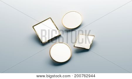 Blank white gold lapel badge mock ups set round square rhombus ellipse 3d rendering. Empty luxury hard enamel pin mockup. Golden clasp-pin design template. Expensive brooch for presentation.