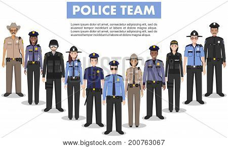Police team. Detailed illustration of police people in flat style on white background.