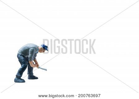 Miniature people worker construction concept on isolate white background with clipping path