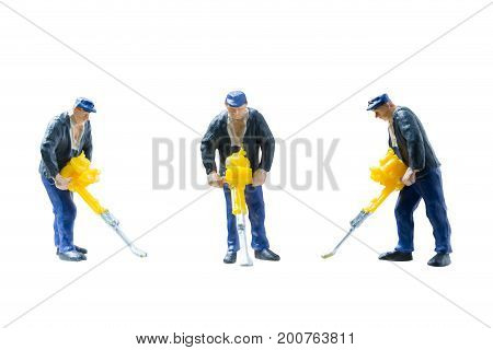 Miniature People Worker Construction Concept On Isolate White Background