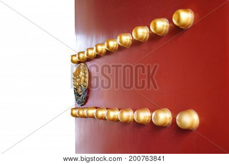 Opened Traditional Chinese Door With Gold Lion