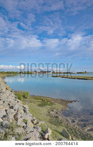 View to Village of Lemkenhafen on Fehmarn at baltic Sea,Schleswig-Holstein,Germany