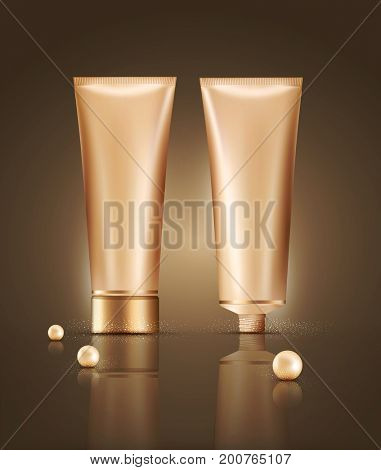 illustration.Realistic pearls and plastic tubes with professional CC cream, isolated. Cosmetic vial.Elements for cosmetic design business,advertising,promotion. Poster template, leaflets, flyers